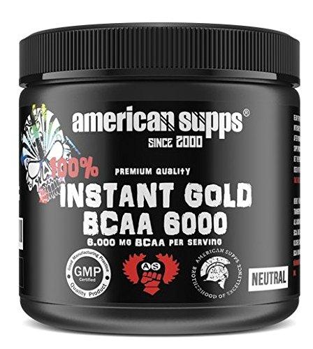American Supps Instant Gold BCAA 6000 Aminos BCAAs Pulver Bodybuilding Muskelaufbau Fitness - Neutral (1000 g)