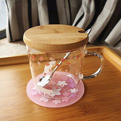 WU-Mug Le Verre mug Tasse Lait créatif Jolie Fleur avec Couvercle Tasse à thé Tasse à café Tasse de l'eau de la Classe D-2