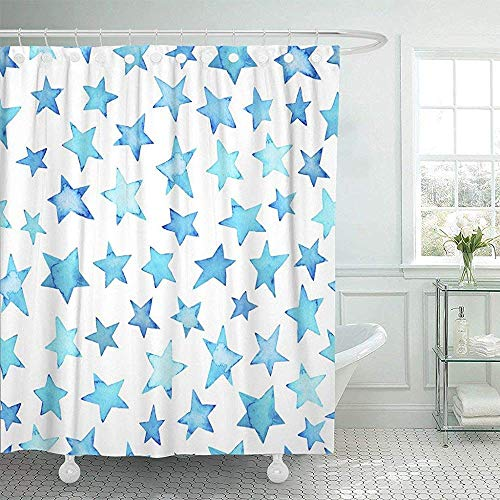 Duschvorhänge, Fabric Shower Curtain with Hooks Colorful Paint Blue Sky Watercolor Pattern Ink Stars Polka Dots for Ombre Color Water Decorative Bathroom Treated to Resist Deterioration by Mildew -