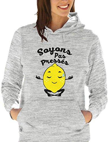 Soyons pas pressés - citron zen Sweatshirt Capuche Femme Blanc Chiné