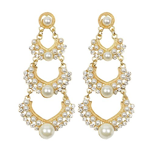 Young & Forever Elite Chandelier Pearl Embellished Statement Dangler Earrings For Women Girls E192