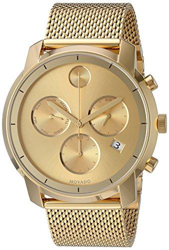 Movado Men's Gold Tone Steel Bracelet & Case Quartz Gold-Tone Dial Chronograph Watch 3600372