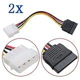 2X 4 Pin IDE Molex 15 Pin Serial ATA SATA-Festplatte Stromkabel