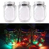 3packs Solar Mason Jar Licht - Maurer Glas LED Bunte Fee Jar Deckel Lichtbetriebene Gartentisch Außen hängend Laterne Lichter - dekorative,Sammeln, Weihnachten, Party, Hochzeit(3pcs Farbe)
