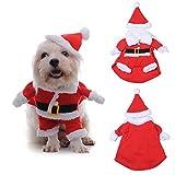 3D Weihnachtskleidung für Haustier Hund Katze, Warm & Lustig Weihnachtsmann Kostüm mit Hut für Klein und Mittelunter Hund Katze - 5 Größe vorhanden(XL)