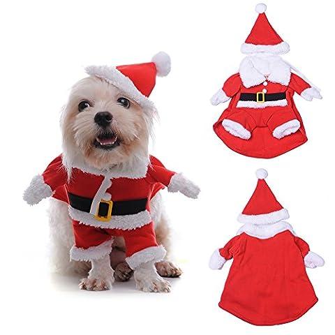 3D Weihnachtskleidung für Haustier Hund Katze, Warm & Lustig Weihnachtsmann Kostüm mit Hut für Klein und Mittelunter Hund Katze - 5 Größe vorhanden(S)