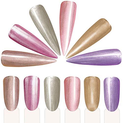 jhtceu Spiegelpuder für Nagelkunst, Silber-Glitzer-Puder, Chrom-Effekt, Pigment mit Pinsel - Effekt-pigment