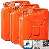 3x Oxid7® Benzinkanister Kraftstoffkanister Metall 20 Liter Orange mit UN-Zulassung - TÜV Rheinland Zertifiziert - Bauart geprüft - für Benzin und Diesel
