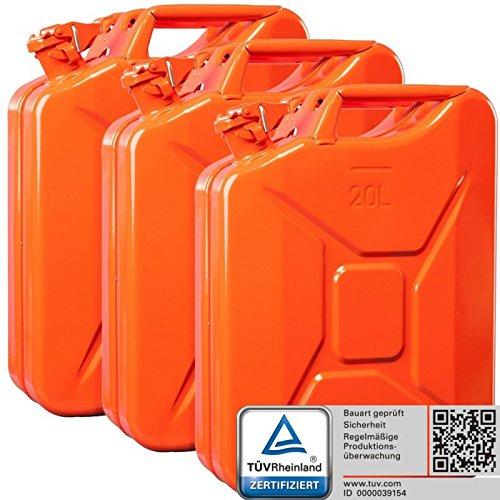 Oxid7 3X Benzinkanister Kraftstoffkanister Metall 20 Liter Orange mit UN-Zulassung - TÜV Rheinland Zertifiziert - Bauart geprüft - für Benzin und Diesel
