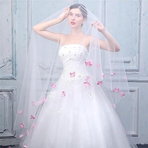 GZQ Voile de mariage de mariée Couche unique Tulle souple aux pétales roses coupe blanc blanc Ivoire
