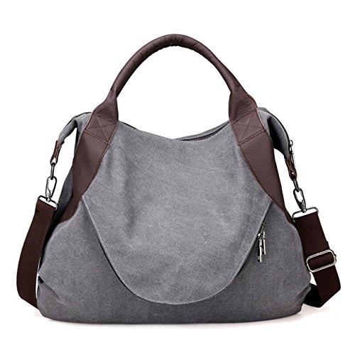 THEE Damen Retro Canvas Schultertasche Handtasche Einkaufstasche Messenger Tasche Grau