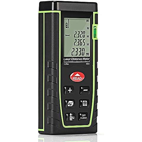 Telémetro Láser GrandBeing Medidor de Metros 0 - 40M, Distanciómetro Láser con Memoria de Almacenamiento de 30 Datos (Unidades Ajustables entre M / In / Ft), Medidor Láser de Distancia con Baterías