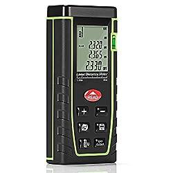GrandBeing®Tragbare Laser entfernungsmesser , distanzmesser einfach und schnell messen, mit zwei AAA-Batterien, Handschlaufe und Fall tragen (Grün, 40m)