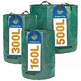 Glorytec Gartenabfallsack Set 160L + 300L + 500L - mit doppeltem Boden - 4 statt nur 3 reißfeste Griffe - Gartensack aus extrem Robustem Polypropylen-Gewebe (PP) 150gsm