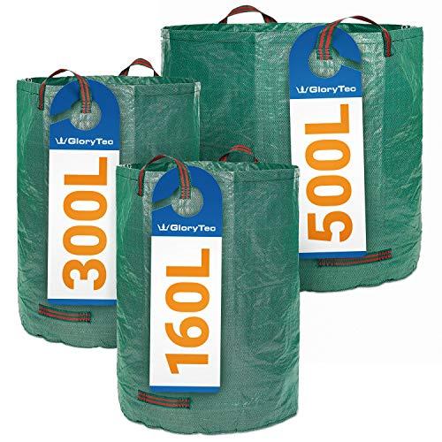 *Glorytec Gartenabfallsack Set 160L + 300L + 500L – mit doppeltem Boden – 4 statt nur 3 reißfeste Griffe – Gartensack aus extrem Robustem Polypropylen-Gewebe (PP) 150gsm*