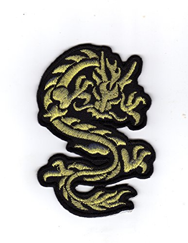 Preisvergleich Produktbild JAB Seller Aufnäher Bügelbild Aufbügler Iron on Patch Goldener Chinesischer Drache Dragon Tai Chi Kampfsport