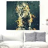 Magische Türkische Katzen Wandteppich Fantasy Tabby Katze Wandbehang Psychedelisch Wandkunst Wanddekor Tuch Bettdecke Stranddecke Picknickdecke Weiß 79x59inch