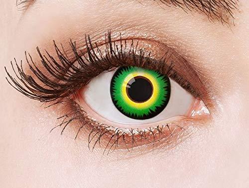 Farbige Kontaktlinsen Grün Motivlinsen Ohne Stärke mit Motiv Grüne Linsen Halloween Karneval Fasching Cosplay Kostüm Mad Hatter Hutmacher Green (Kostüme Scary Wolf)