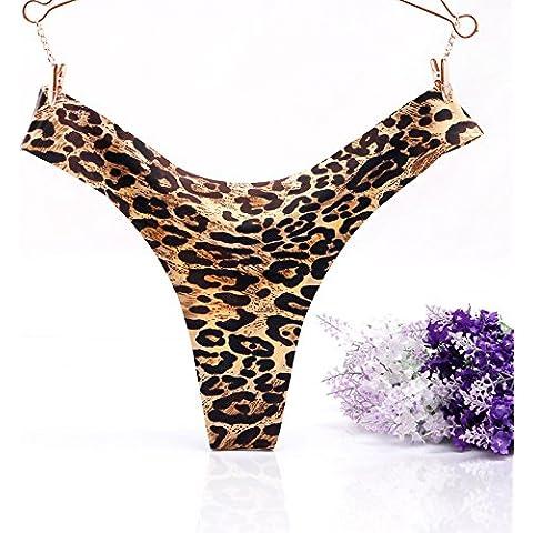 GQF*Las tentaciones cadena sentido de mujeres sin marcado sello de leopardo de baja altura la Sra. underwear 1 pedazo de sabor T pantalones ,L, leopard