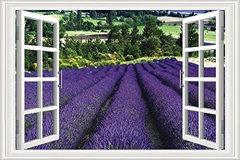 Nunubee Leinwanddrucke Bilder Kunstdrucke Gemälde Wandbilder Europäische Lebendige Fenster Lavendel, 60x90cm
