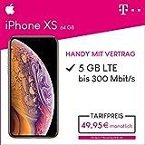Apple iPhone XS (Gold) 64GB Speicher Handy mit Vertrag (Telekom Magenta Mobil M) 5GB Datenvolumen 24 Monate Mindestlaufzeit
