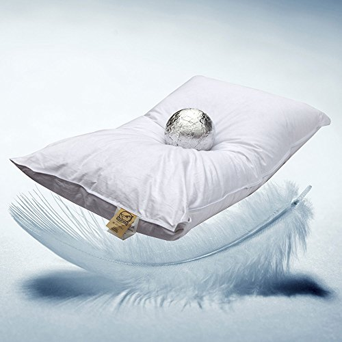 Milano Oreiller en plumes d'oie, 30% duvet d'oie, 70% plumes d'oie, garnissage 850 Gr - Tissu 100% Coton - Made in Italy