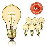 Edison Vintage Glühbirne SEALIGHT dekorative Retro Lampe Glühlampe Warmweiß E27 60W A60 Antike Stil Beleuchtung dimmbar Licht Bulb mit Squirrel Cage Filament Ideal für Haus Café Bar (6 Stücke)