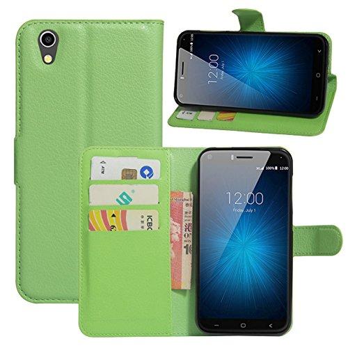 HualuBro UMIDIGI London Hülle, [All Aro& Schutz] Premium PU Leder Leather Wallet Handy Tasche Schutzhülle Case Flip Cover mit Karten Slot für UMIDIGI London 5.0 Inch 3G Smartphone (Grün)