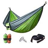 HUKOER Amaca da Campeggio - amaca doppia portatile in nylon resistente con cinghe e moschettoni premium- resiste fino a 250Kg per viaggiare, fare escursionismo, arrampicare e dormire all'aperto (Verde, Ordinario)
