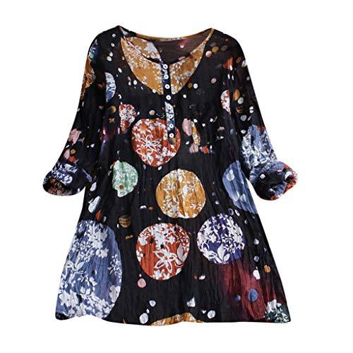 als Ausschnitt Oberteile Hemd LoseWomens Casual Plus Size Lose Leinen ÄRmel Print Button Tanic Shirt Bluse ()