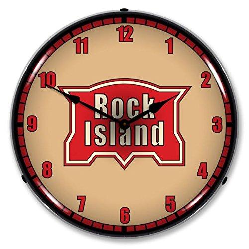 Rock Island-Eisenbahn Logo Leuchtende Wanduhr - Neon Clock-garage Sign