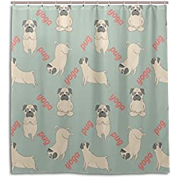 bennigiry Yog perro carlino cortina de ducha resistente al agua cortina de baño poliéster tejido impermeable cortina de ducha de tela con ganchos para baño habitación 36W x 72L, Multi, Multicolor, 66x72