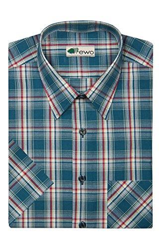 EWO - Herren Karo Halbarm Hemd mit Kent Kragen (20927220) Blau (200)