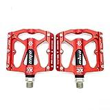 Willyn Ultra-light Kugellager MTB CNC Aluminum Fahrrad Pedale Fahrradpedale JT32 (33,Rot mit Schwarz)