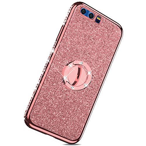 Herbests Kompatibel mit Huawei Honor 9 Hülle Glitzer Mädchen Schuzhülle Bling Glitzer Strass Diamant Transparent TPU Silikon Hülle Handyhülle Tasche Ring Halter Ständer,Rose Gold