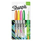 Sharpie marqueurs permanents, pointe fine, assortiment de couleurs fluorescentes, Lot de 4