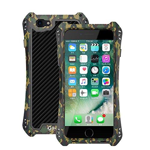 """iPhone 7 Coque ,SHANGRUN Aluminium Metal Frame Bumper + Fibre de Carbone + Caoutchouc Silicone Coque Antichoc Protictive Couvercle housse Etui Protection Case pour iPhone 7 4.7"""" Vert Vert"""
