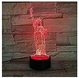 Cadeaux États-Unis Statue 3D lampe LED USB Veilleuses Toucher RVB Couleurs Table à...