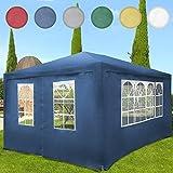Miadomodo - Pavillon de jardin avec parois amovibles - Tonnelle de jardin 4 x 3 m - Tente de réception – Bleu