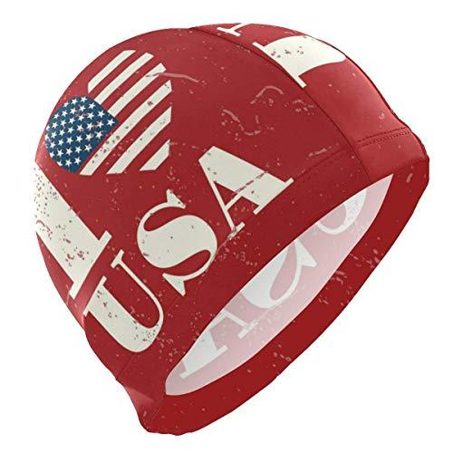 Schwimmhaube, Swim Cap I Love USA Swimming Hat Cover Ears Comfortable Bathing Cap for Men Adult Teenager Long Short Hair