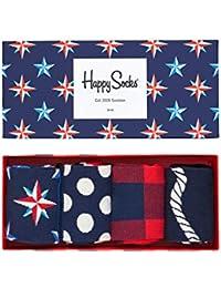 Happy Socks Calcetines de Hombre Náutico Caja de Regalo, 4 Paquete