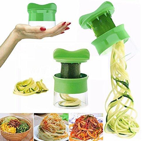 Premium Spiralschneider Hand für Gemüsespaghetti kartoffel - mit BÜNDEL Kochbuch und enthält die Bürste für die Reinigung - FabQuality Zucchini Spargelschäler, Gurkenschneider,