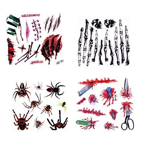 Tattoos Aufkleber Temporäre Gefälschte Narben Tattoos für Realistische Blutige Wurm Palm Tattoos Halloween Temporäre Aufkleber (zufällig) ()