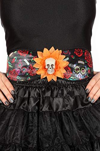 (Wilbers Tag der Toten Gürtel Schärpe Day Death Dia Muertos zum Kostüm Halloween Karneval)