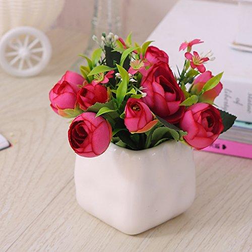 Self-My Künstliche Blumen Emulation Ist Eine Schaukel In Der Kreativen Kleinen Topfpflanzen Indoor Emulation Wein Rote Partei Tasse Tee Von Dunkelrot Gefälschte Blumen