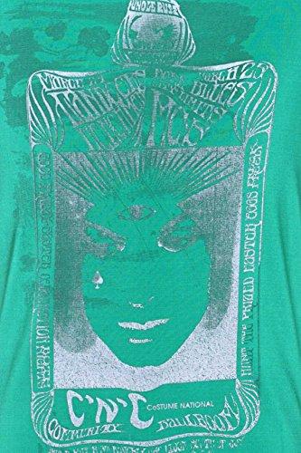 Costume National C'N'C Herren T-Shirt Verwaschen, Vintage Rundhals, MYSTERIE Card Grün