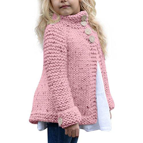 Neugeborene Knitted Kleidung Baby Mädchen Kleinkind Lonshell Lange Hülse Kleider Set Taste Gestrickten Pullover Warm Strickjacke Winter Mantel Tops Outfits (2T 90, Rosa) (Mädchen 2t-outfits)