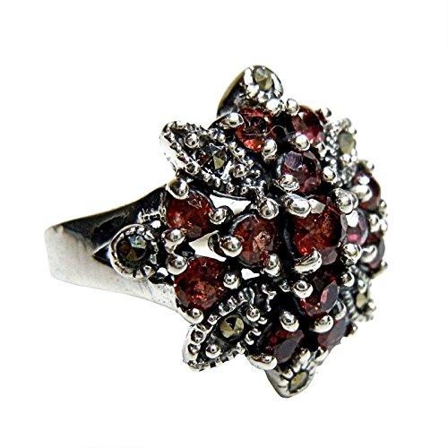 Noblesse Granat Jugendstil Blüten Silber Ring mit Markasiten (58 (18.5))