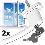 TecTake Fenstergriffe abschließbar Sicherheitsfenstergriff inklusive 2 Schlüssel pro Griff weiss -Menge wählbar- (2)