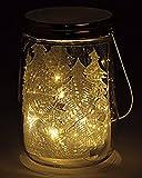 Dekoratives ORIGINAL LED WINDLICHT / LATERNE mit schöner Lichterkette mit 10 LED - aus Echtglas und Edelstahl mit 10 LED - Größe 16 x 12 x 12 cm - für den Innenbereich und Außenbereich - OUTDOOR - NEU - aus dem KAMACA-SHOP